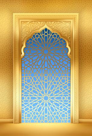 Fond de Ramadan avec arche dorée, avec motif arabe doré Vecteurs