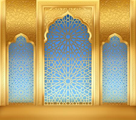 Fond de Ramadan avec arche dorée, avec motif arabe doré