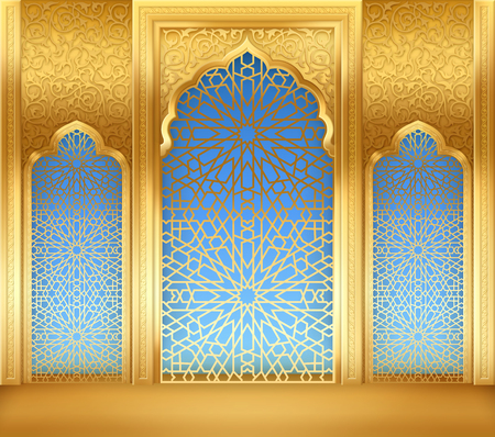 Ramadan background with golden arch, with golden arabic pattern Stock Illustratie