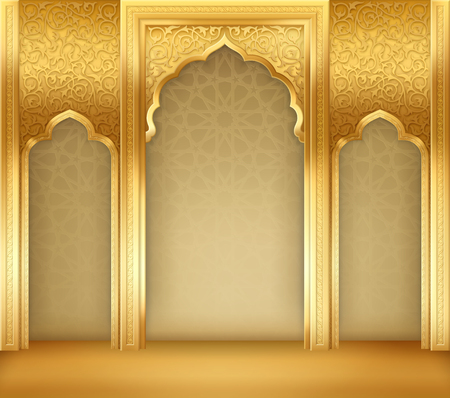 Ramadan background with golden arch, with golden arabic pattern Иллюстрация