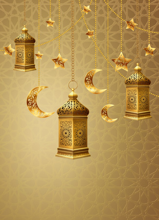 Illustration with golden arabic lantern and golden ornate crescent, and golden decorative elements on background with traditional pattern. EPS 10 contains transparency.