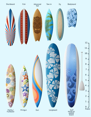 Set of surfboards with original design and size, with designation of each kind of surfboard, EPS 10 contains transparency. Zdjęcie Seryjne - 122108275