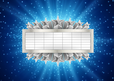 Illustration of silver metallic banner with supernova background, with stars and sparcles. EPS 10 contains transparency. Иллюстрация