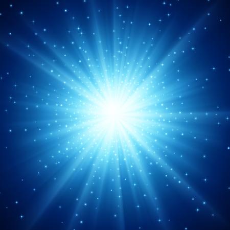 Illustration de Supernova avec des étoiles, fond avec lumière. EPS 10 contient de la transparence. Vecteurs