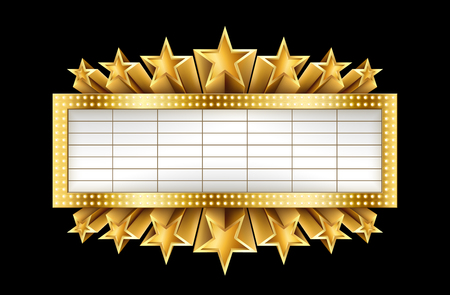 Marquee golden banner with stars, and realistic metal texture, EPS 10, contains transparency Illustration