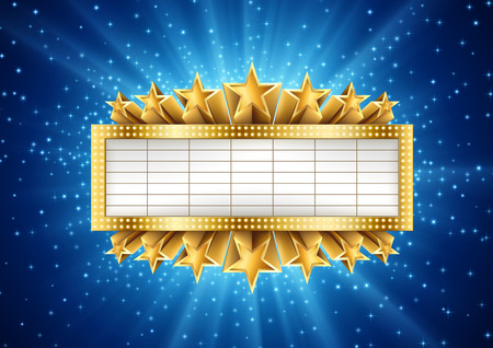 Illustration of golden metallic banner with supernova background, with stars and sparcles. EPS 10 contains transparency. Иллюстрация