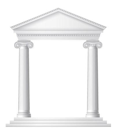 Un antiguo templo romano o griego con columnas o pilares jónicos. EPS 10 contiene transparencia.