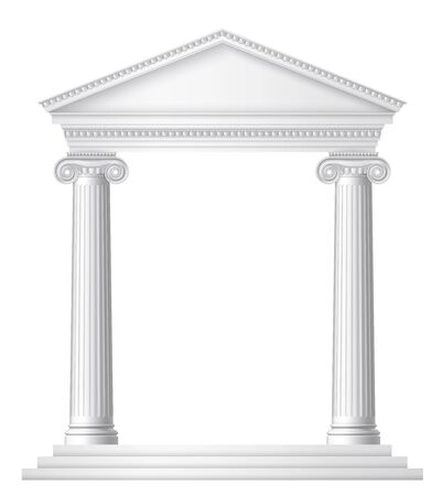 Un temple romain ou grec antique avec des colonnes ou des piliers ioniques. EPS 10 contient de la transparence.
