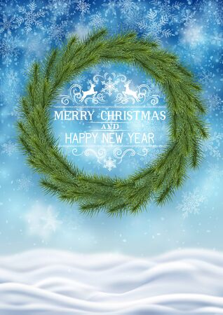 Illustration of snowfall, background with wreath for new year and christmas greeting cards, and invitations, and winter holiday season. EPS 10 contains transparency.