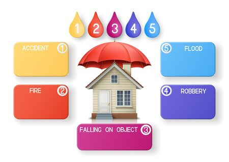 Modern infographics option banner, with red umbrella and house, EPS 10 contains transparency. Stock Illustratie