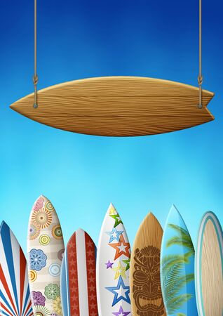 Clean wooden surfboard signboard on ropes, on the background of surfboards in row, with original design and colorful print, on the background of clear sky. EPS 10 contains transparency. Stockfoto - 145007878