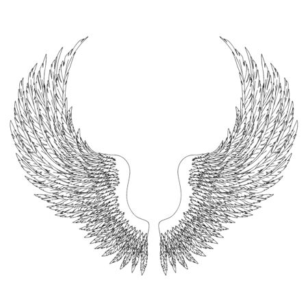 Black and white hand-drawn wings of angel or archangel, element of insignia or coat of arms. EPS 8. Vecteurs