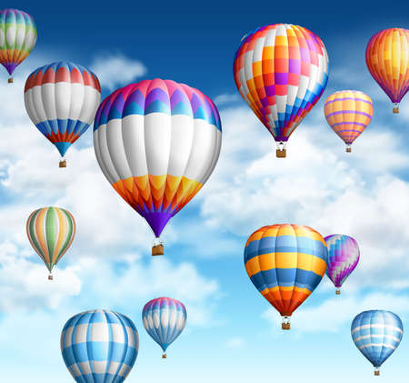 Hot air ballons over cloudy sky.EPS 10 contains transparency.