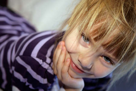 posing little kaukasian girl