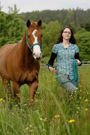 friends walking together (Quarterhorse and woman) photo