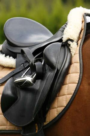 saddle as detail of a saddled horse