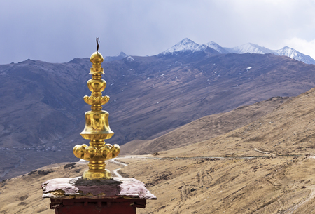 Landscape view from Ganden Buddhist Monastery with golden stupa - Near Lhasa, Tibet