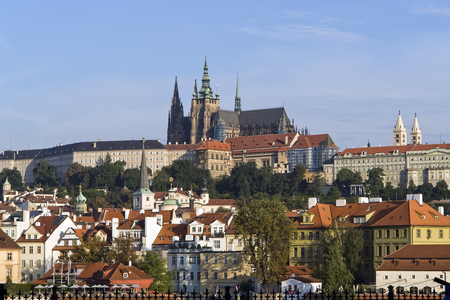 View of old town and Prague castle taken from Charles bridge - Prague, Czech Republic
