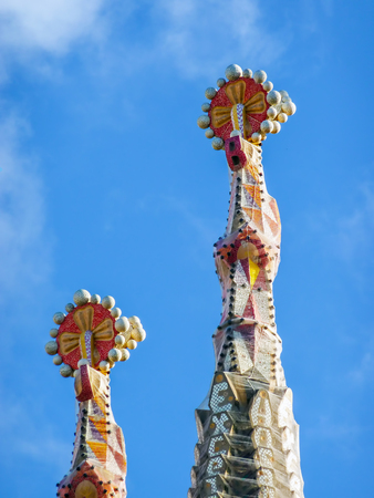 sagrada: Two of the spires of Sagrada Familia in Barcelona - Spain.