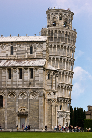 Leaning Tower of Pisa and Cathedral - Pisa, Italy. The Leaning Tower of Pisa is the campanile, or freestanding bell tower, of the cathedral of the Italian city of Pisa.