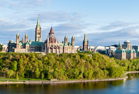 Parliament Hill, in Ottawa - Ontario, Canada. Its Gothic revival suite of buildings is the home of the Parliament of Canada.