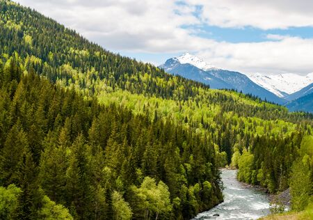 Mountain river in the colorful forest of British Columbia with snowy mountains in background - Canada