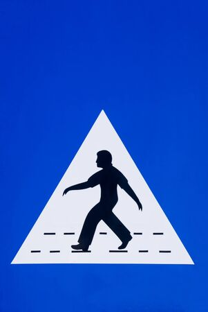 Omani pedestrian crossing sign photo close up isolated - Muscat, Sultanat of Oman Stock Photo