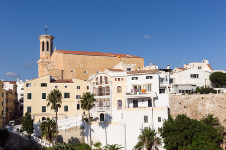 View of Church of Santa Maria in Historical centre of Mahon - Minorca, Baleares, Spain