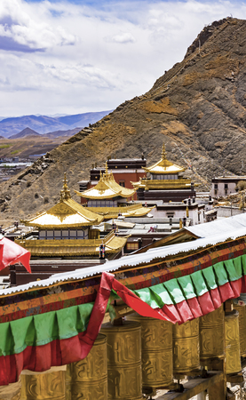 General view of Tashilumpo Monastery in Shigatse with prayer wheels - Tibet