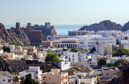 Overlooking of Muscat old Harbour area. The old city of Muscat is separated from the rest of modern Muscat by coastal mountains - Muscat, Oman Editorial