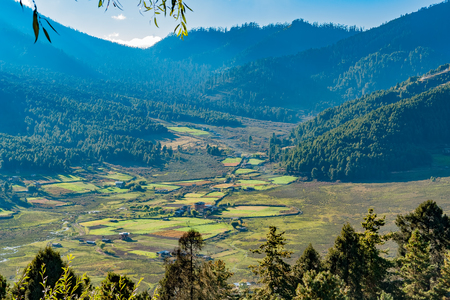 Picturesque landscape in rural Bhutan with farms