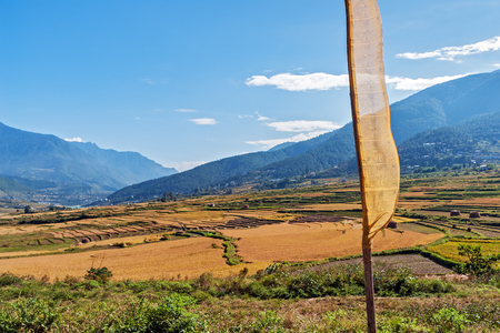 Agricultural landscape in rural Bhutan with prayer flag in foreground Stock Photo