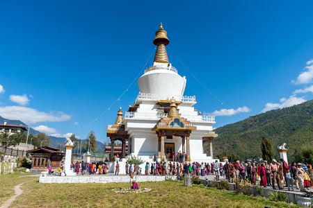 The Memorial Stupa, also known as Thimphu Chorten - Bhutan. The stupa, built in 1974 to honor the third Druk Gyalpo, is a prominent landmark in the city with its golden spires and bells. Editorial
