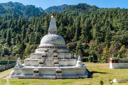 Chendebji Chorten - Eastern Bhutan. The chorten is situated at the point where the three ridges and the three edges of the sky meet. It bears similarity to the Jarung Khashor stupa in Nepal.