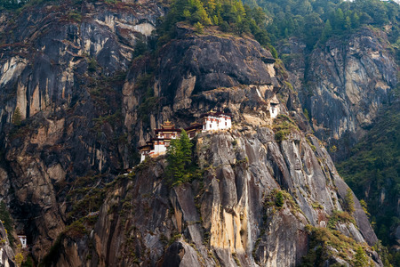 Paro Taktsang: The Tigers Nest Monastery - Bhutan. Taktsang is the popular name of Taktsang Palphug Monastery, located in the cliffside of Paro valley, in Bhutan.