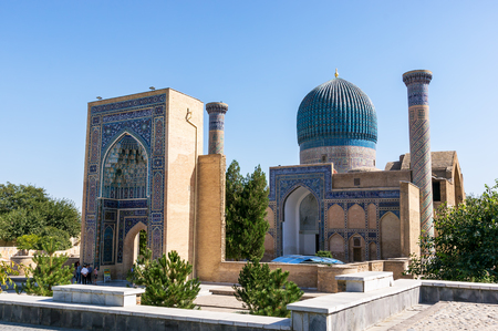 Samarkand, Uzbekistan - September 19, 2013: Gur-e Amir mausoleum of Timur - Samarkand, Uzbekistan. Its architectural complex contains the tombs of Tamerlane, his sons and grandsons.