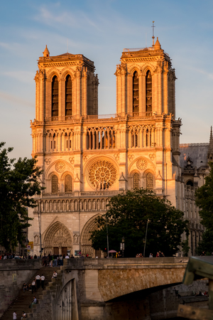 Paris, France - June, 21, 2018: Notre Dame de Paris at Golden Hour - Paris, France