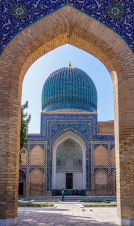Samarkand, Uzbekistan - September 20, 2013: View of Gur-e Amir mausoleum of Timur through the entrance - Samarkand, Uzbekistan. 에디토리얼