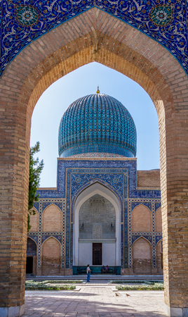 Samarkand, Uzbekistan - September 20, 2013: View of Gur-e Amir mausoleum of Timur through the entrance - Samarkand, Uzbekistan. Editorial