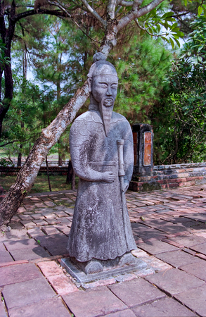 Statue at the tomb of Emperor Khai Dinh - Hue, Vietnam Stock Photo