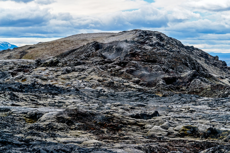 Krafla Lava Fields - Iceland. It is located in Leirhnjukur, a few hundred meters down from Viti Crater, are a wide area of ??sulfur vapors and still hot volcanic lavas.