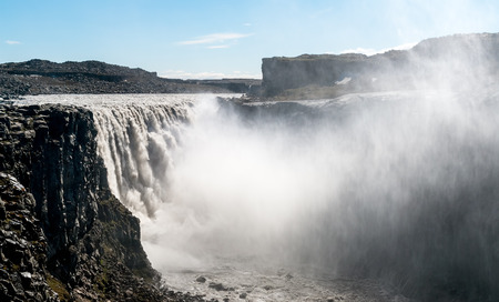 Dettifoss waterfall in Vatnajokull National Park - Northeast Iceland. It is the most powerful waterfall in Europe.