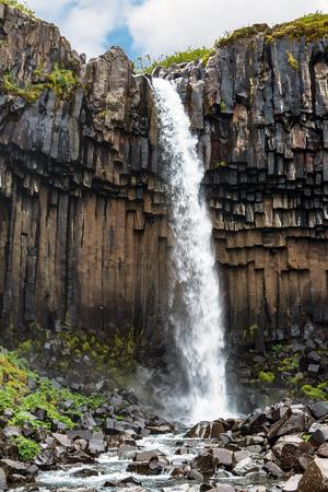 Stunning Icelandic Scenery of Svartifoss Waterfall, Black Waterfall, in Skaftafell - Iceland