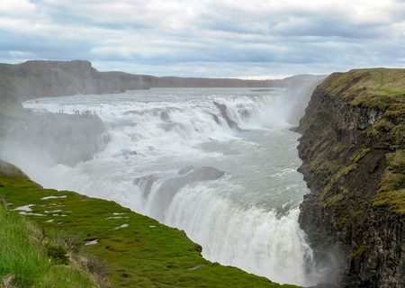 Gullfoss waterfall located in the canyon of Hvita river in southwest Iceland.