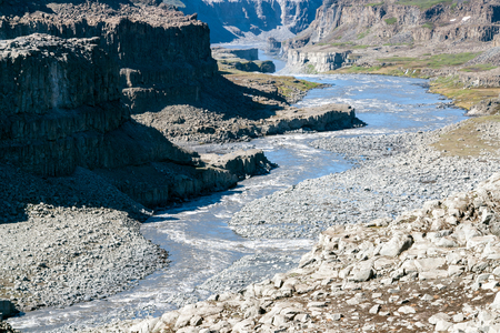 Dettifoss Canyon after the waterfall in Vatnajokull National Park - Northeast Iceland