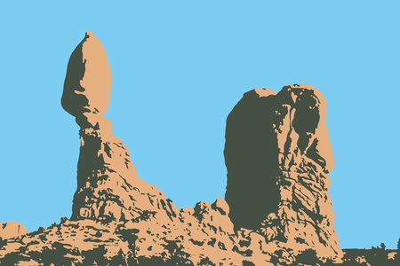 Vector illustration of the balanced rock formation in Arches National Park - Southern Utah, USA Иллюстрация