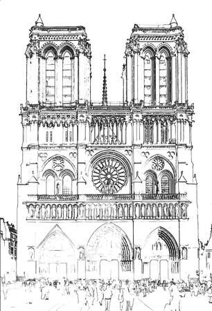 Vector Illustration, in sketch style, of Notre Dame de Paris - Paris, France