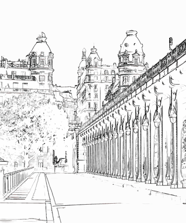 Vector Illustration, in sketch style, of Pont de Bir-Hakeim, also known as viaduc de Passy - a bridge that cross the Seine River in Paris