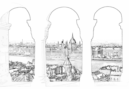 Vector illustration, in sketch style, of Budapest and hungarian parliament gothic building through the arch of fisherman's bastion on Buda side - Hungary