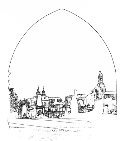 Vector Illustration, in sketch style, of The Charles bridge thru an arch - Prague, Czech Republic